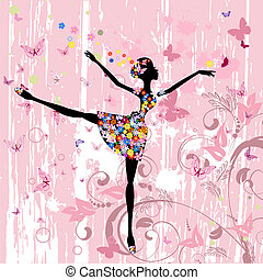 ballerina, m�dchen, mit, blumen, mit, vlinders, grunge