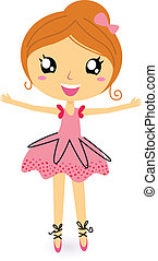 ballerina, m�dchen, weißes, freigestellt, tanzen