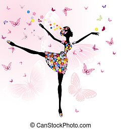 ballerina, meisje, met, bloemen, met, vlinder