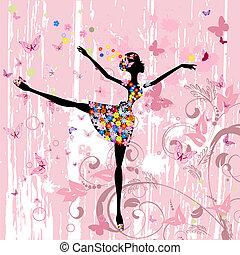 ballerina, meisje, met, bloemen, met, vlinder, grunge
