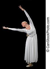 ballerina, met, breidde uit, armen