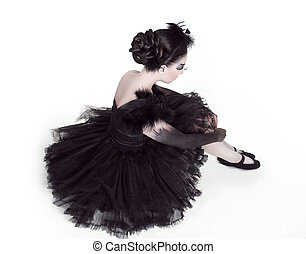 ballerina., moda, retrato arte, de, hermoso, girl., moda, estilo, woman., aislado, blanco, plano de fondo