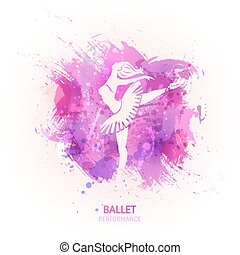 Ballerina on watercolor background