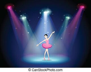 ballerina, palcoscenico, centro, aggraziato