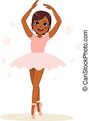 Sweet young African American teenager girl ballerina wearing pink tutu and dancing