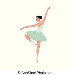 ballerina, pointe, ballo, giovane, isolato, fondo., bianco, tutu, scarpe