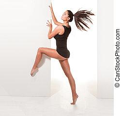 ballerina, pose, blootsvoets, sexy