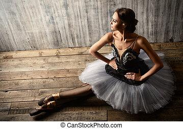 ballerina - Professional ballet dancer posing at studio over...