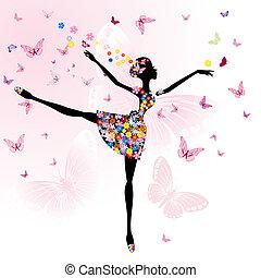 ballerina, ragazza, con, fiori, con, farfalle
