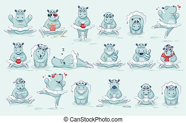 ballerina, satz, zeichen, vektor, emoji, karikatur, nilpferd