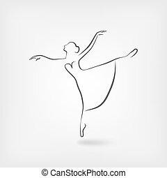 ballerina, schets, studio, symbool, dancing