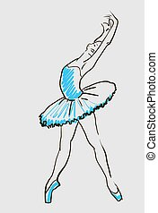 ballerina, schizzo, vettore, ragazze