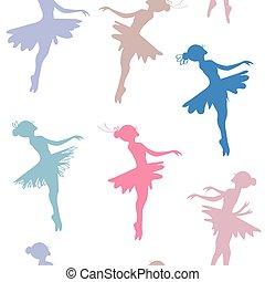 Ballerina seamless pattern - pastel colored design