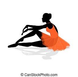 ballerina, silhouette, riposare