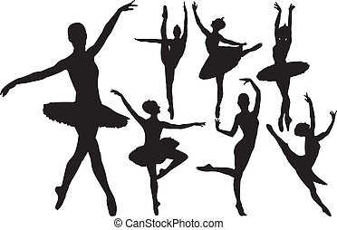 ballerina, silhouette, vettore