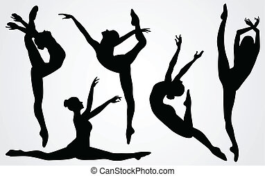 ballerina, silhouetten, schwarz