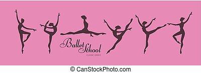 Ballerina Silhouettes Set. Dancing Girls. Classic Dance.