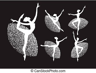 Ballerina Silhouettes Set. Dancing Girls. Classic Dance.