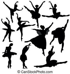 ballerina, silhuett, balett