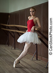 Ballerina standing near the bar on tiptoe
