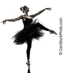 ballerina, tänzer, tanzen, frau, freigestellt, silhouette