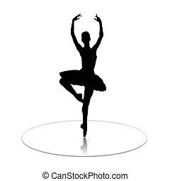 Ballerina - The ballerina who dances on mirror to a floor