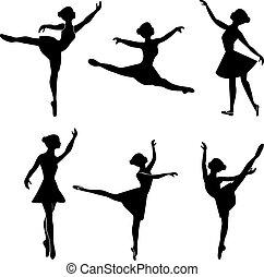 ballerina, vektor, silhuet