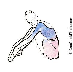 ballerina, vettore, disegno, figura, mano