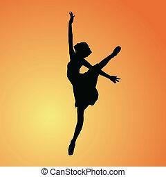 ballerina, vettore, -, fondo