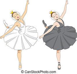 ballerina, weißes, schwarz, &