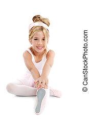 ballerina, wenig, ballett, kinder, tänzer, dehnen, sitzen
