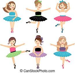 ballerina, wenig, satz, mädels