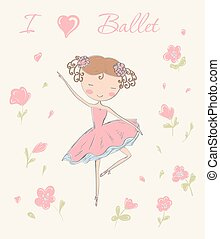 ballerina with flowers. - Hand drawn ballerina dancing with...