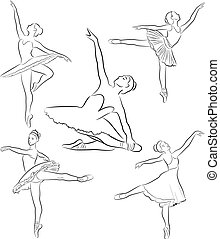 Ballerinas collection, line drawing