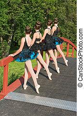 Ballerinas In the Park - Four ballerinas on a bridge in the...