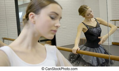 Ballerinas perform dance exercises near ballet machine and mirror.