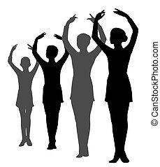 ballerinas, roeien, groep, handen, staand, meiden, verheven
