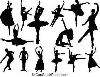 ballerinas, vector, -, verzameling