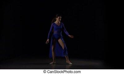 ballerine, éléments, ballet., danse, mouvement, lent