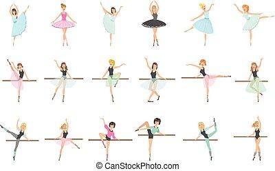 ballerine, addestramento, set, appartamento, ballo, infantile, stile, isolato, vettore, semplificato, carino, illustrazioni, classe