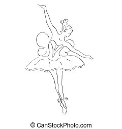 ballerine, ailes, illustration, danse