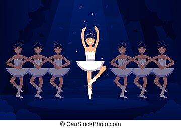 ballerine, balletto, prima, appartamento, luce, ballerina, illustrazione, illustrazione, scuro, fondo., vettore, performance., ballo, disegno, palcoscenico, bandiera, casato