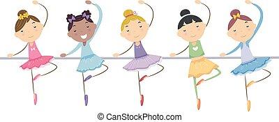 ballerine, bambini, stickman, ragazze