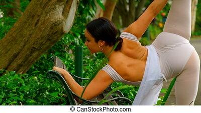 ballerine, banc, femme, exercice, étirage, 4k