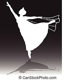 ballerine, blanc, vecteur, silhouettes