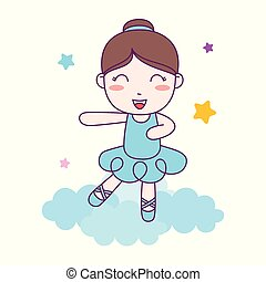 ballerine, coutume, danse, illustration, nuage, bleu, girl, mignon