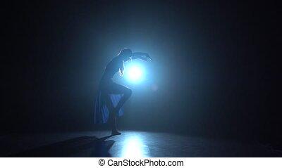 ballerine, danse lente, mouvement, studio, professionnel, projecteur