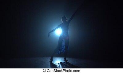 ballerine, danse lente, mouvement, studio, spotlight., professionnel