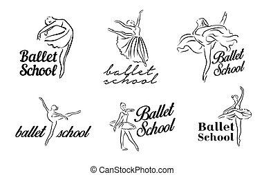 ballerine, donna, set, ballando., teatro, ballerina, atteggiarsi, immagini, balletto, theme., illustrazione, mano, vettore, artistico, disegnato, tutu, ballerino