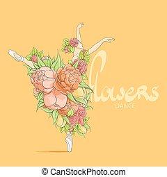 ballerine, fleurs, danse